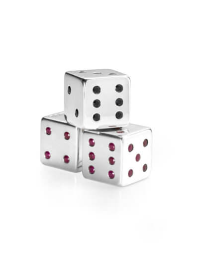 Dice with rubies and sapphires for private client 2010