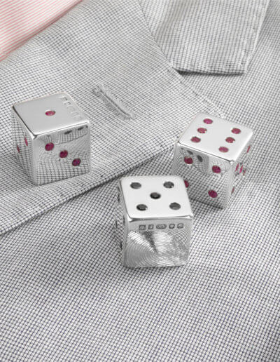 Dice with rubies and sapphires on jacket for private client 2010