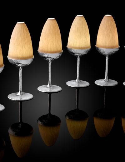 """Ora"" Tea light holders with handmade porcelain shades."