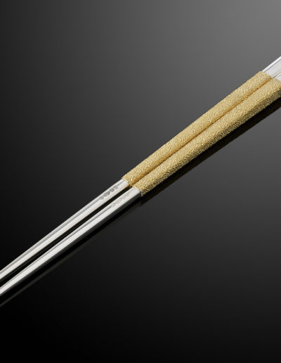 Hand forged and hand textured magnetic silver chopsticks.